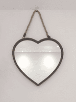 Heart Shaped Rustic Metal Wall Mirror With Rope Hanger